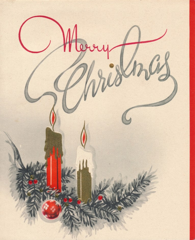 """A pair of candles sit, one red, one gold, above it reads """"Merry Christmas"""" the """"Christmas"""" portion is spelled out with the smoke from the red candle."""
