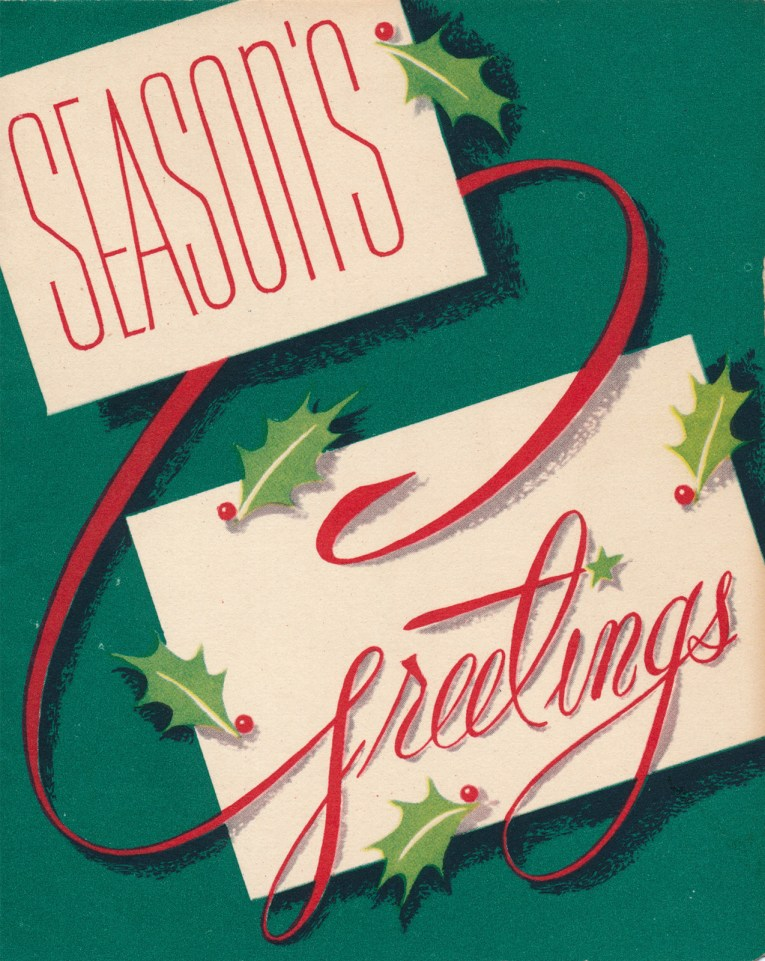 "A green background features two white rectangles, each feature a word, and it reads ""Season's Greetings"" and small bits of holly surround the boxes."