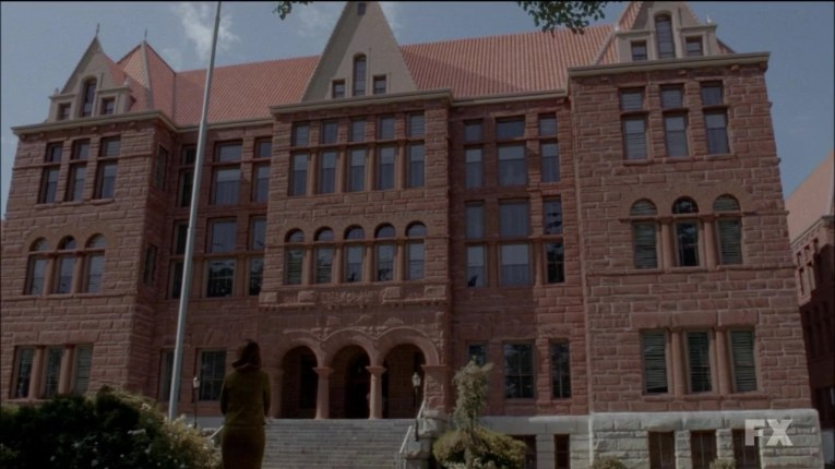 The courthouse as it appears in American Horror Story: Asylum, looking imposing.