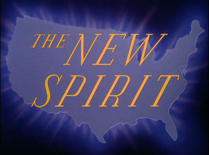 """A blue silhouette of the United States features gold text across it reading """"The New Spirit"""""""