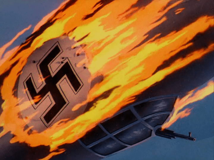 A plane bearing a swastika is a blaze falling to the ground.
