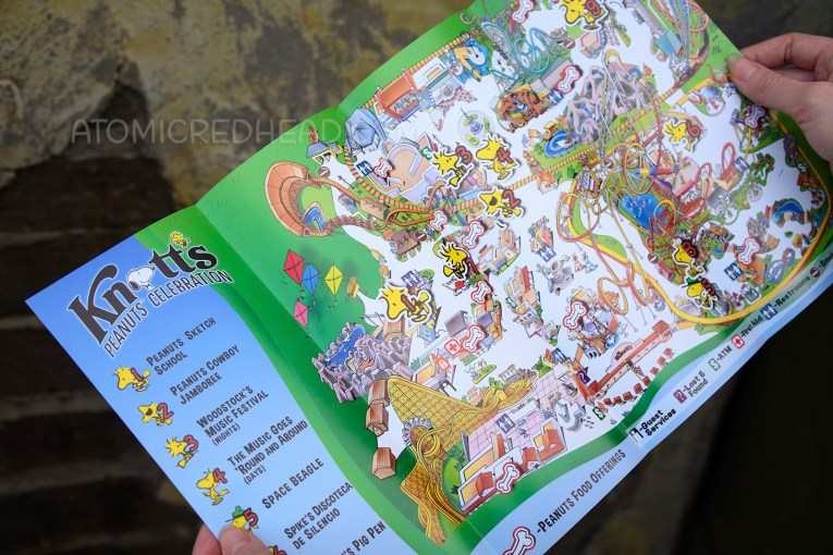 The map of Knott's Berry Farm featuring little Woodstocks showing Guests where special Peanuts Celebration offerings are.