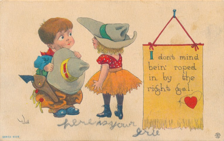"""A cowboy holds his hat as he looks at a cowgirl, text reads """"I don't mind bein' roped by the right gal"""""""