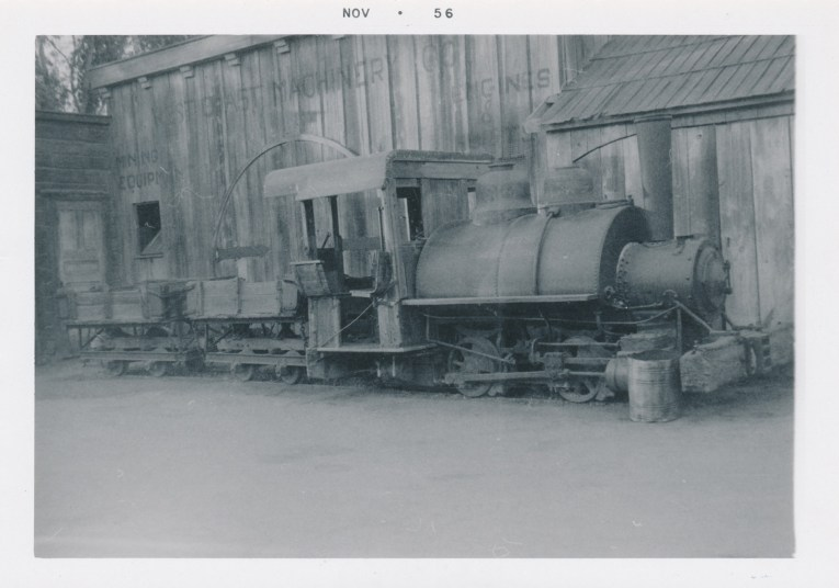 """A black and white photo of """"Old Betsy"""" an old borax train."""
