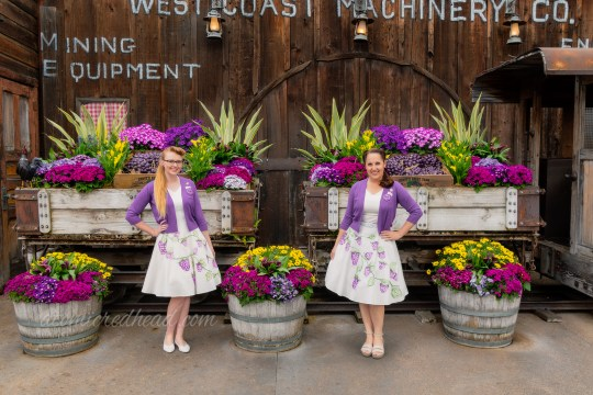 Kiley and I standing in front of Old Betsy, a borax train that now carries beautiful flowers, each of us wearing the same thing, a purple sweater over a white dress with painted boysenberries.