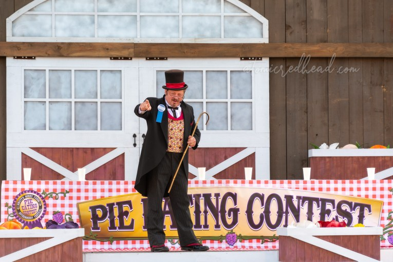 The Deputy Mayor of Calico gets the crowd excited for the boysenberry pie eating contest!