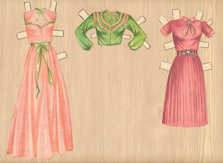 Two ensembles for Dale Evans: A pink flowing gown, with green trim, an option for a green shirt to wear over, with pink trim. Another outfit is a pink dress with silver accents.