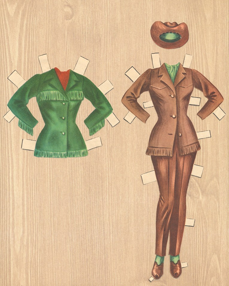 An ensemble for Dale Evans: A brown suit with pants, and green bandana at the neck, a matching brown hat on top. Optional, a green fringed coat.