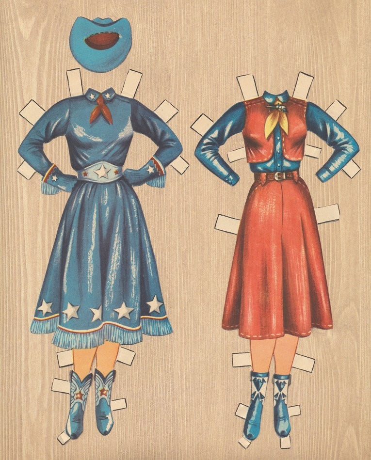 Two ensembles for Dale Evans: An all blue outfit, with shirt and skirt. The skirt features white stars at the hem, blue boots and a blue hat. The other outfit features a blue shirt work under a red vest, worn with a matching red skirt, and blue boots.