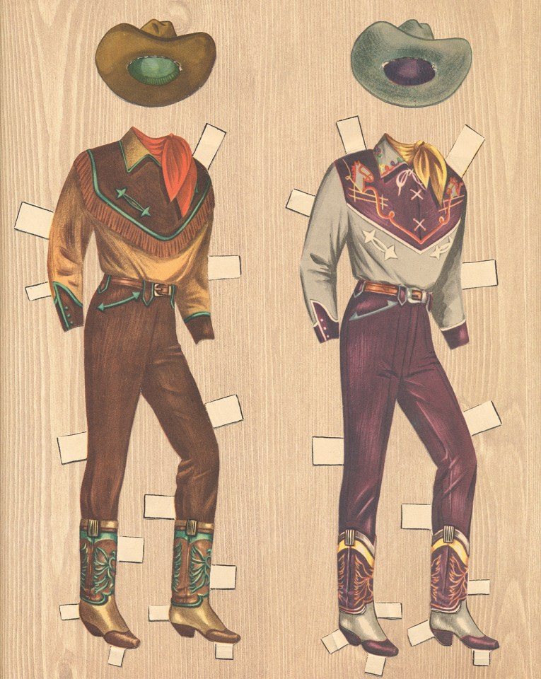 Two ensembles for Roy Rogers: A brown and tan shirt with turquoise accents, and red kerchief, and brown hat. The other, a purple and grey outfit. The western shirt is grey with a purple yoke that features embroidery, the pants are purple, and the hat is grey.