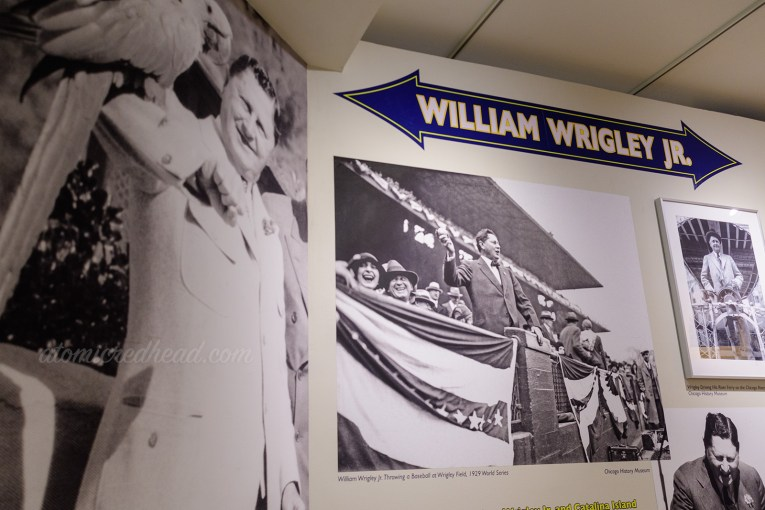 Interior of the museum. Wall dedicated to William Wrigley Jr., including multiple black and white images of him.