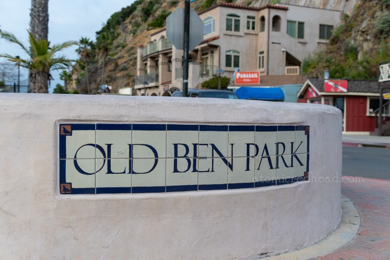 """Close up of the tile reading """"Old Ben Park"""""""