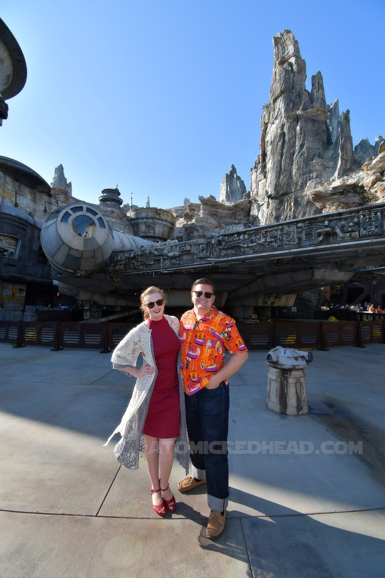 Patrick and I stand in front of the massive Millennium Falcon.