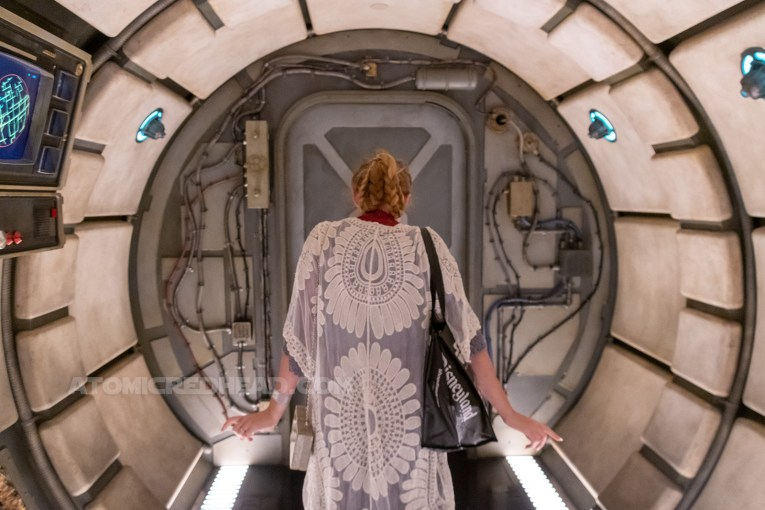 Myself standing in the curved hallways of the Millennium Falcon.