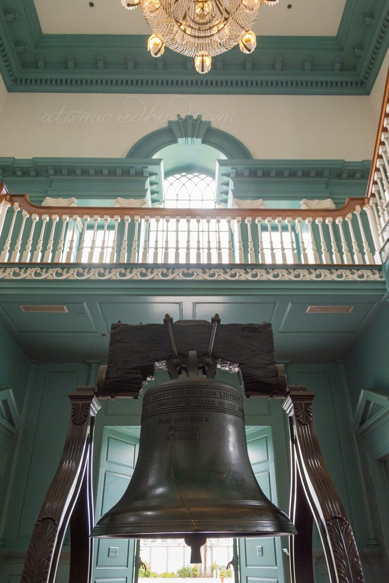 A replica of the Liberty Bell sits within Independence Hall, with an upper balcony above. The walls are painted a muted teal.
