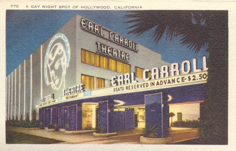 "Postcard of the Earl Carroll, with white neon reading ""Earl Carroll Theatre"" and a woman's face made of neon."