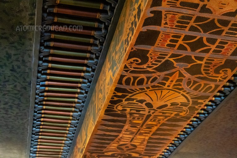 The ceiling of the lobby, which features intricate hieroglyphs.