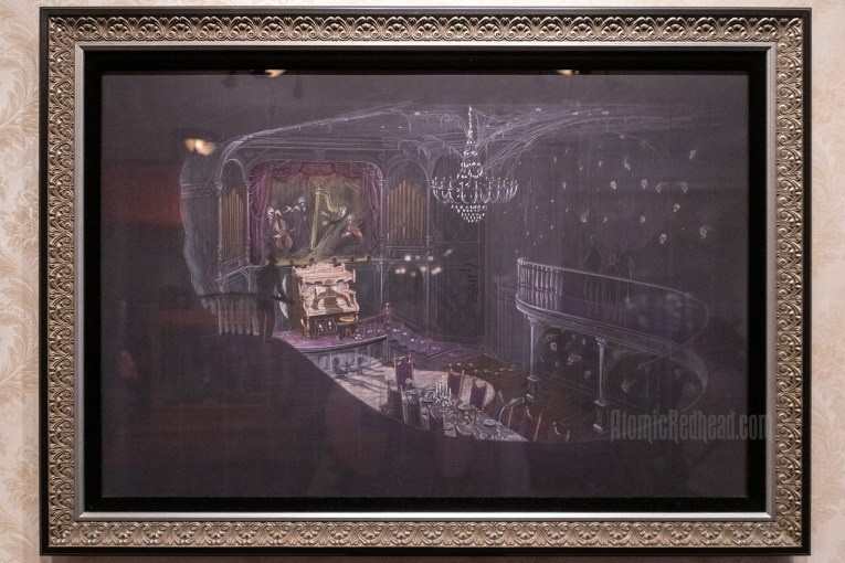 An illustration of a grand ballroom with a pipe organ being played by a shadow, a band with instruments played by skeletons, and many floating skulls about.