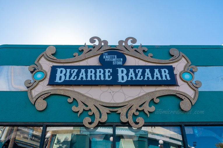 "Exterior of the Bizarre Bazaar, where various goodies for Knott's Scary Farm are available for sale, including the art show ""Into the Fog"""