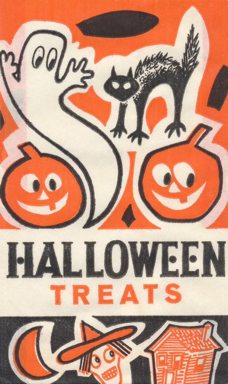 "A ghost, cat, witch, and pumpkins dot this bag, with ""Halloween Treats"" in black and orange letters."