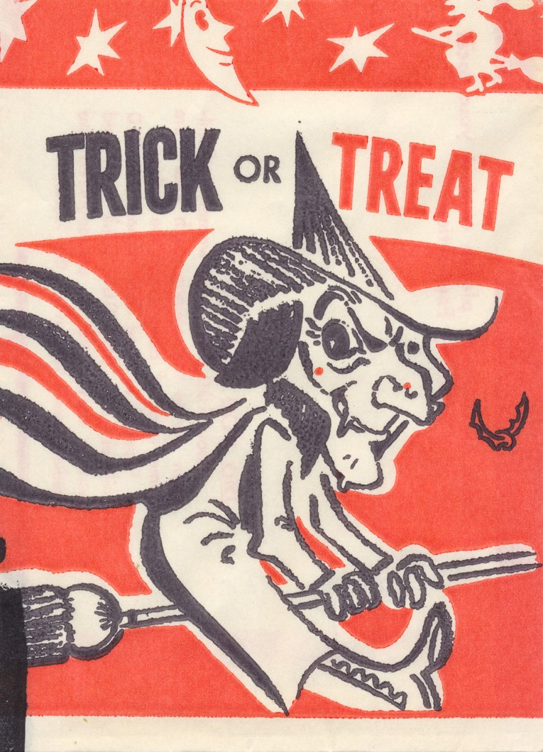 "A witch rides a broom. Black and orange text reads ""Trick or Treat"""