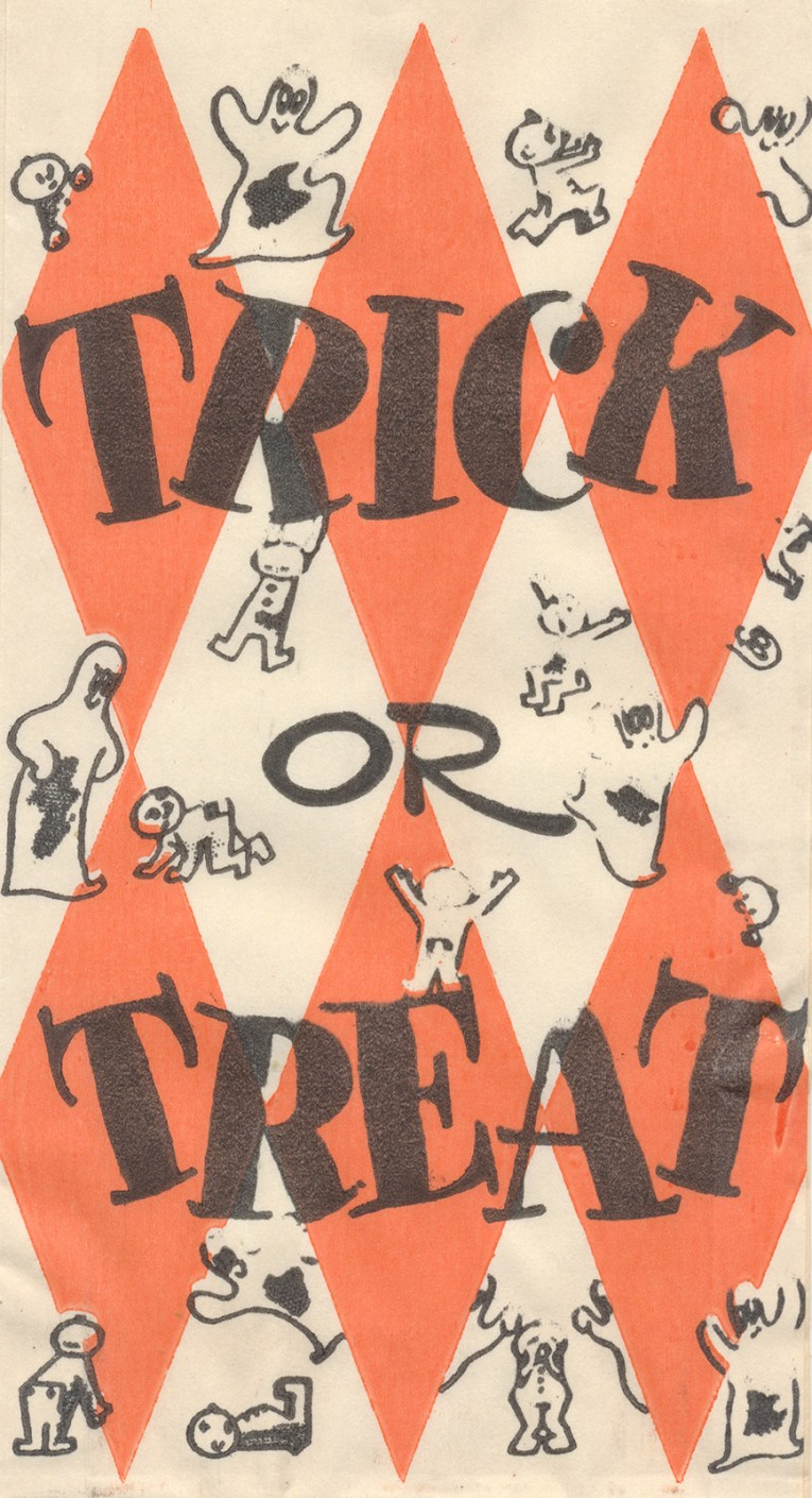 "A harlequin pattern of white and orange cover this bag with small ghosts dotting it as well. Black letters read ""Trick or Treat"""