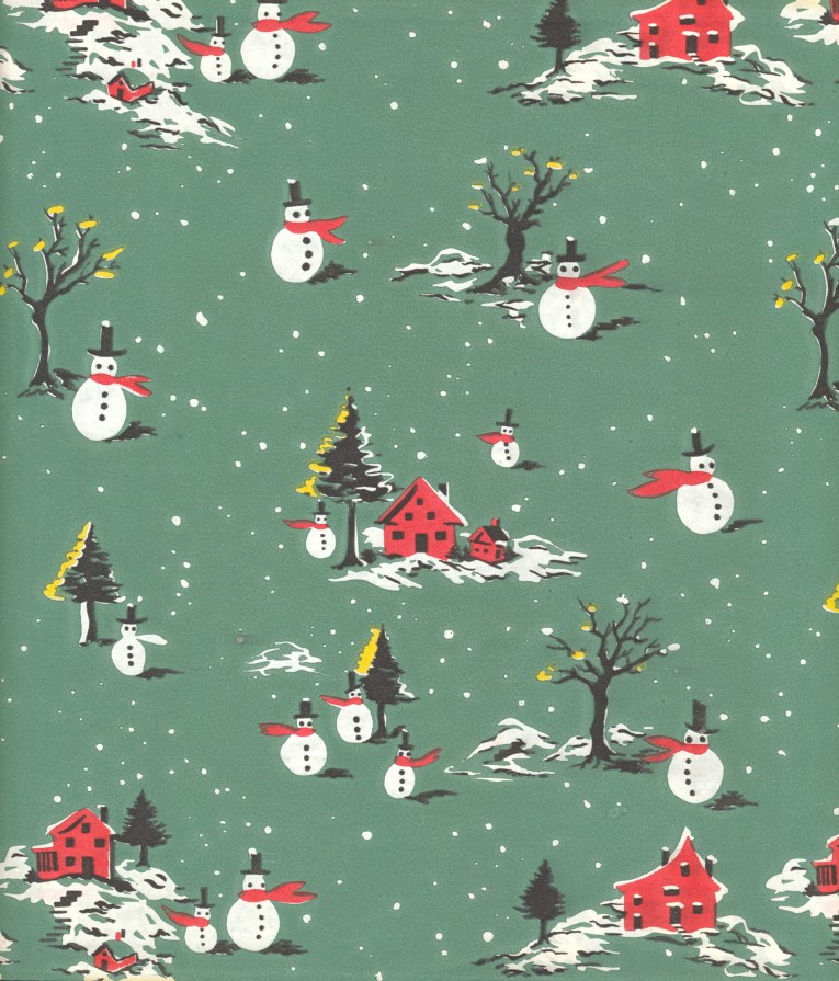 Snow men, trees, and a little red house against a green background.