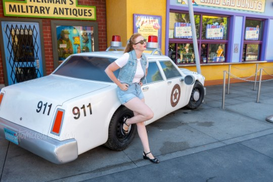 Myself, wearing a white t-shirt, with a jean vest over, and jean shorts, standing in front of a Springfield Police car that has crashed into a lamppost in front of Lard Lad Donuts.