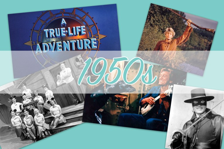 "Collage of images from True Life Adventures, Davy Crockett, The Mickey Mouse Club, 20,000 Leagues Under the Sea, and Zorro with ""1950s"" over the top."