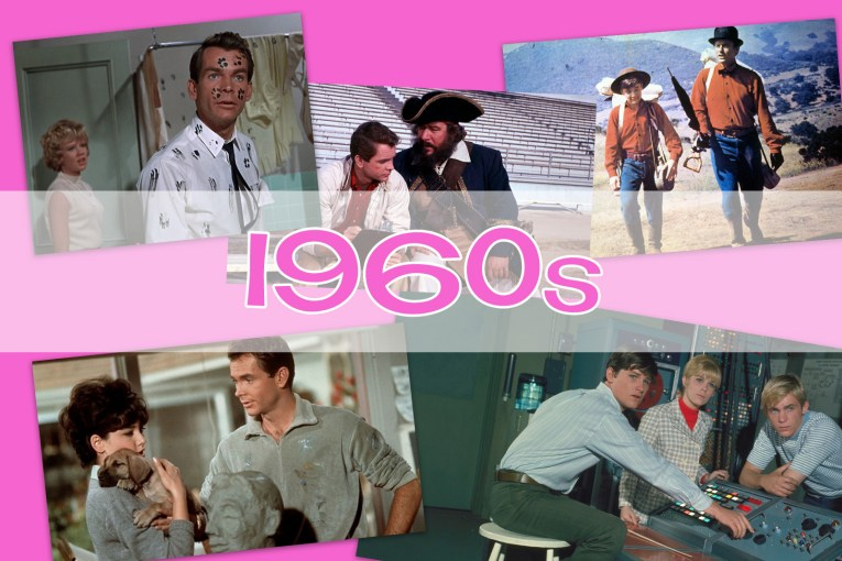 """Collage of images from That Darn Cat, Blackbeard's Ghost, The Adventures of Bullwhip Griffin, The Ugly Dachshund, and The Computer Wore Tennis Shoes, with """"1960s"""" over the top."""