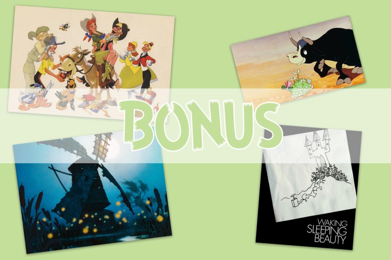 Collage of images from Melody Time, Ferdinand the Bull, The Old Mill, and Waking Sleeping Beauty