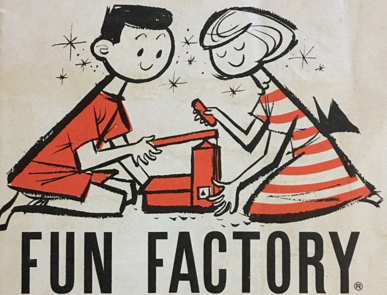 "An illustration of a boy and a girl playing with the Play-Doh Fun Factory. Black text below reads ""Fun Factory"""