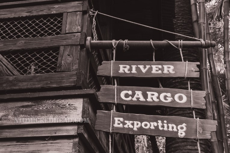 "A sign reads ""River Cargo Exporting"""