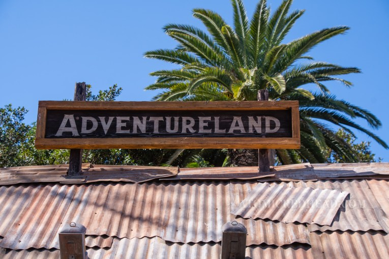"A sign on a corrugated tin roof reads ""Adventureland"""