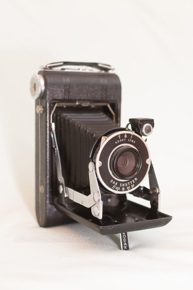 Kodak Vigilant Junior Six-20. A medium, black bellows style camera.