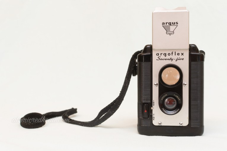 Argoflex Seventy-five. A black and silver dual lens style camera.