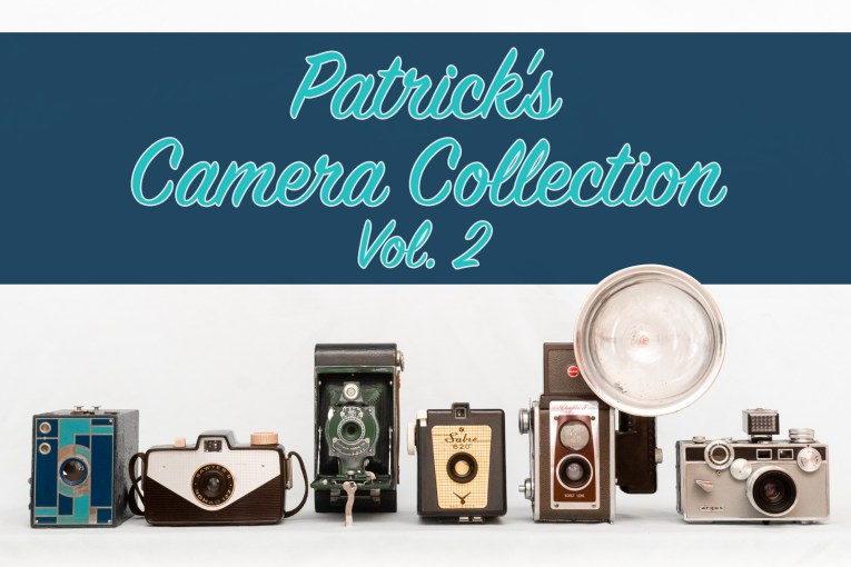 "Six cameras of various styles are lined up at the bottom. Blue script reads ""Patric's Camera Collection Vol. 2"""