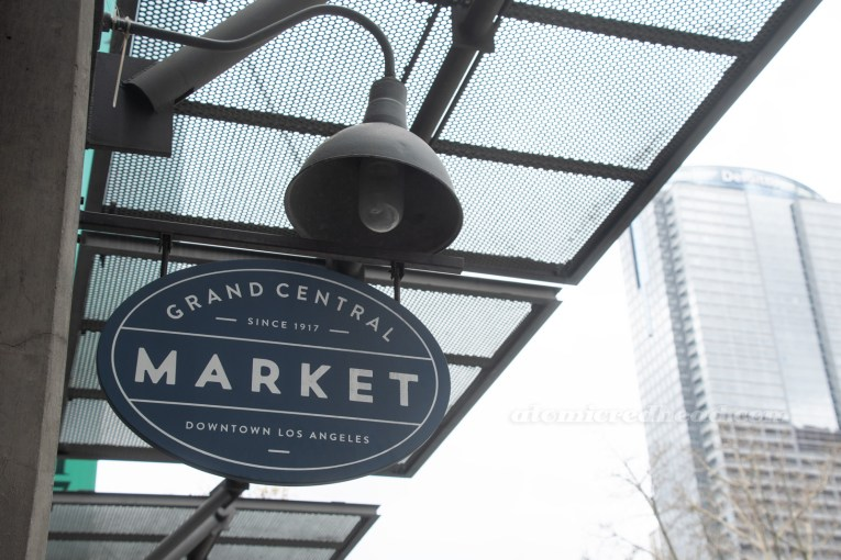"Sign for Grand Central Market, reading ""Grand Central Market since 1917 Downtown Los Angeles"""