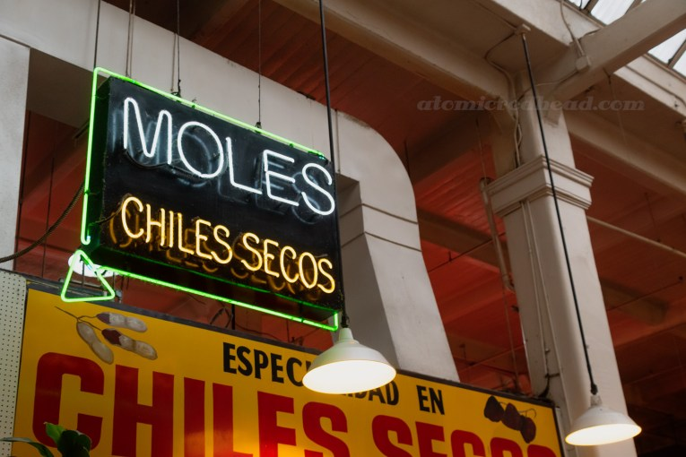 "Neon sign reading ""Moles Chiles Secos"""