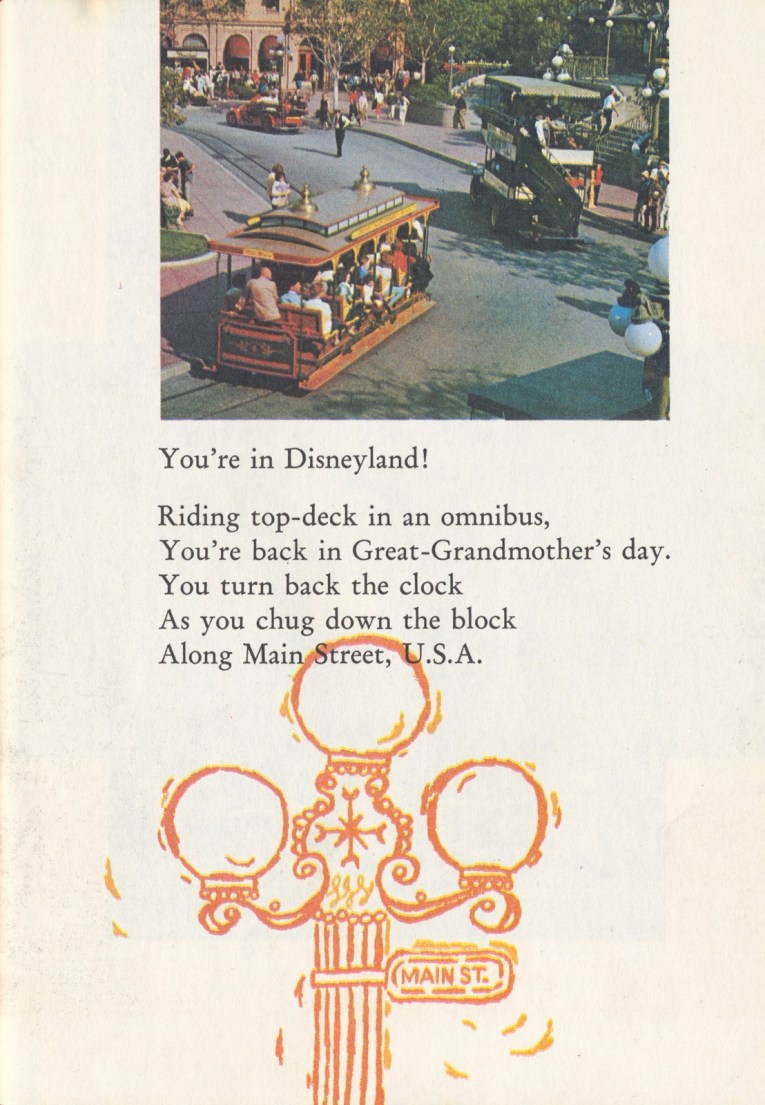 "A photo of the horse drawn street car and omnibus along Main Street. Text reads ""You're in Disneyland! Riding top-deck in an omnibus, You're back in Great-Grandmother's day. You turn back the clock As you chug down the block Along Main Street, U.S.A."""