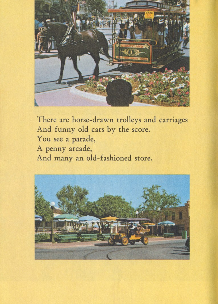 "Two photos, one of the horse drawn street car, another of an early automobile. Text reads ""There are horse-drawn trolleys and carriages And funny old cars by the score. You see a parade, a penny arcade, And many an old-fashioned store."""