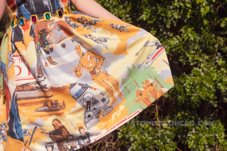 Close-up of my skirt, R2 and 3PO are visible, X-wings as well as the Ewok village are also visible.