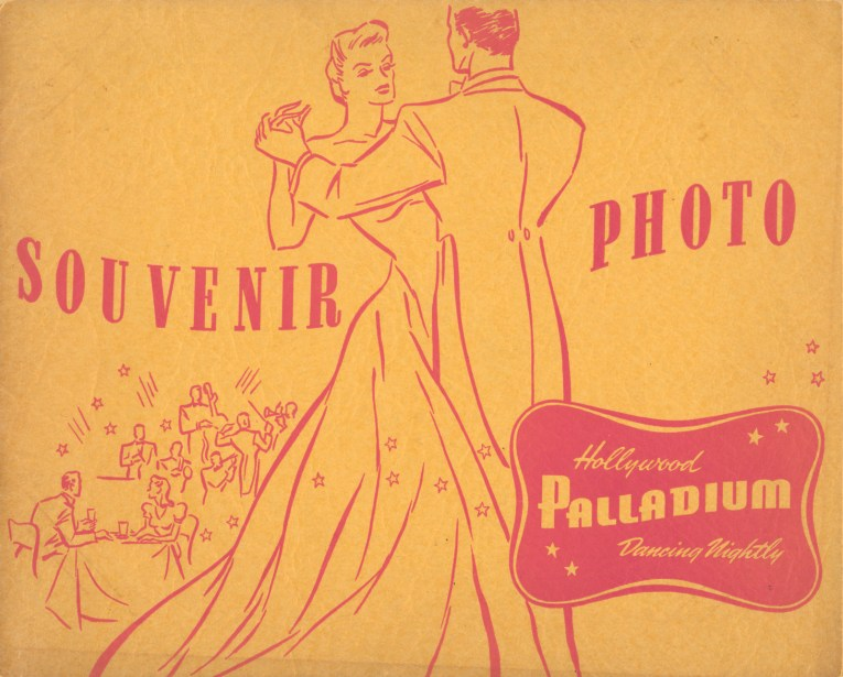 "A yellow folder with pink illustration of a couple dancing. In the background another couple sits at a table with a band playing in the background. Text reads ""Souvenir Photo Hollywood Palladium Dancing Nightly"""
