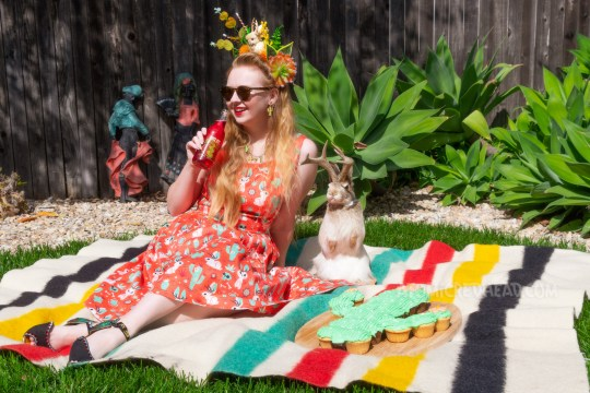 Myself wearing a crown made of fake succulents and a small cream jackalope, wearing a dress with a red, green, and cream print of cacti, jackalopes, and skulls, sitting on a blanket with a cactus shaped cake next to me, and a taxidermy jackalope nearby.