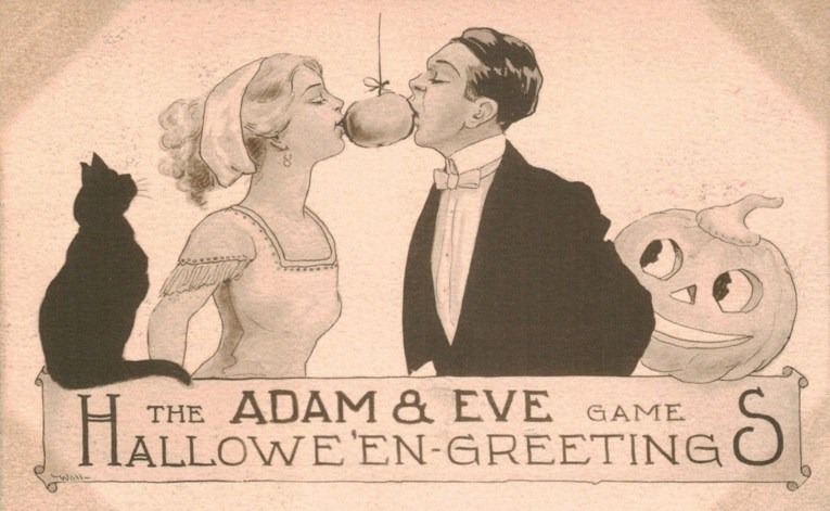 "A couple bites into the same hanging apple. Text at the bottom reads ""The Adam & Eve Game Halloween Greetings."""