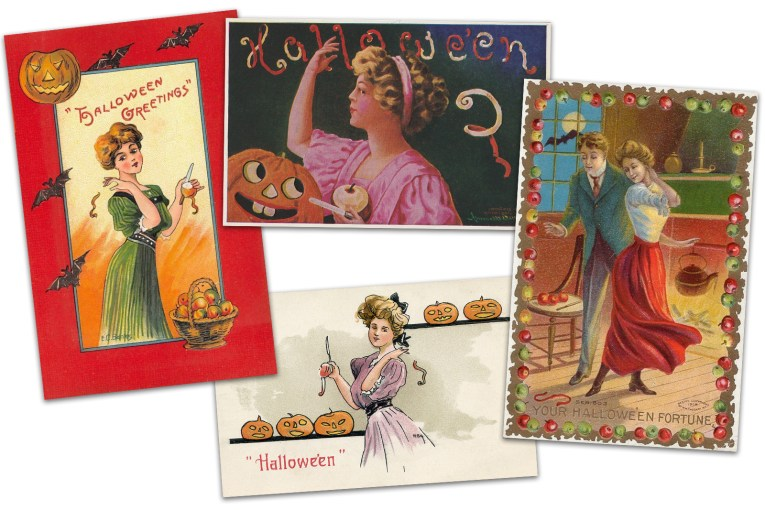 "Collage of four postcards. One features a woman in a green dress, she holds a partially peeled apple in one hand, and tosses peelings over her shoulder with the other. Bats and Jack O'Lanterns edge the frame, and text reads ""Halloween Greetings."" Another postcard features a woman in a pink dress who has a partially peeled apple in one hand, and peelings being tossed over her shoulder with the other. Peelings spell out ""Halloween."" Another features a couple in Victorian dress, apple peelings on the floor create the letter ""S"" and script along the bottom reads ""Your Halloween Fortune."" Another postcard features a woman in a purple flowing dress tossing apple peelings over her shoulder, text at the bottom reads ""Halloween."""
