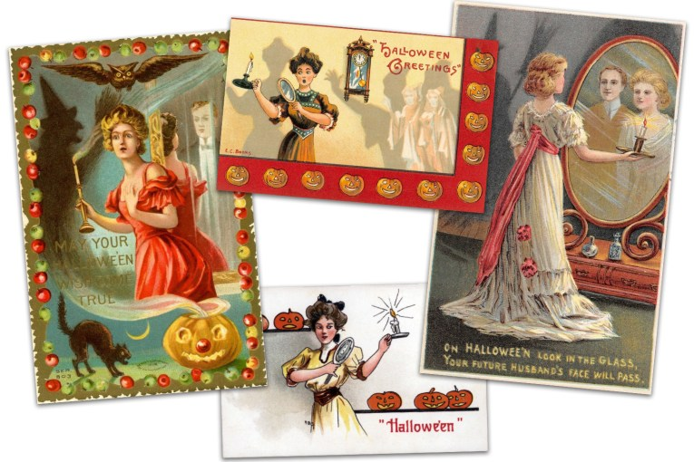 "Collage of four postcards. One features a woman in a red dress holding a candle, the mirror behind her has a man in a tux. Text reads ""May your Halloween wish come true."" Another postcard features a woman in Victorian attire holding a candle and a mirror, two ghost like figures are seen on the opposite side of the card. Text near the top reads ""Halloween greetings."" Another postcard features a woman in a yellow Victorian dress holding a candle and mirror, with Jack O'Lanterns behind her, text along the bottom reads ""Halloween."" Another postcard features a woman in a white dress with large pink sash, standing in front of a large mirror holding a candle, and a man appears over her shoulder. Text reads ""On Halloween look in the glass, your future husband's face will pass."""