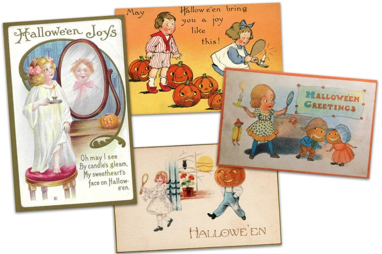 "College of four postcards. One features a girl in a white nightgown holding a candle, she looks into a mirror that has a little boy in it. Text reads ""Halloween Joys. Oh may I see by candle's gleam, my sweetheart's face on Halloween."" Another postcard features a little girl in blue dress with white apron holding a candle and mirror, behind her is a little boy in a red outfit. Text reads ""May Halloween bring you a joy like this!"" Another postcard features a little girl holding a candle and mirror as little Jack O'Lantern headed persons stand near her, text reads ""Halloween greetings."" Another postcard features a little girl holding a candle and mirror, as a man with a Jack O'Lantern head walks toward her. Text reads ""Halloween."""
