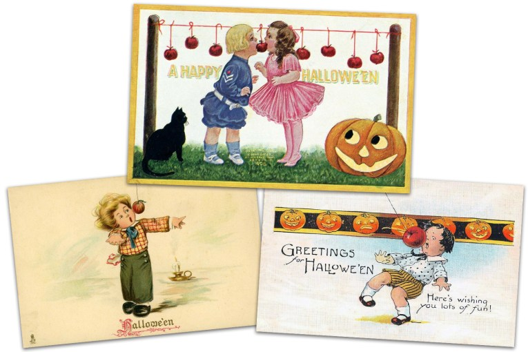 "Collage of three postcards. One features a little boy in a blue sailor outfit and a little girl in a pink dress biting for the same apple as a black cat and Jack O'Lantern look on. Text reads ""A Happy Halloween."" Another postcard features a little boy trying to bite an apple on a string, text reads ""Halloween."" The final postcard features a little boy trying to bite an apple on a string, text reads ""Greetings for Halloween. Here's wishing yo lots of fun."""