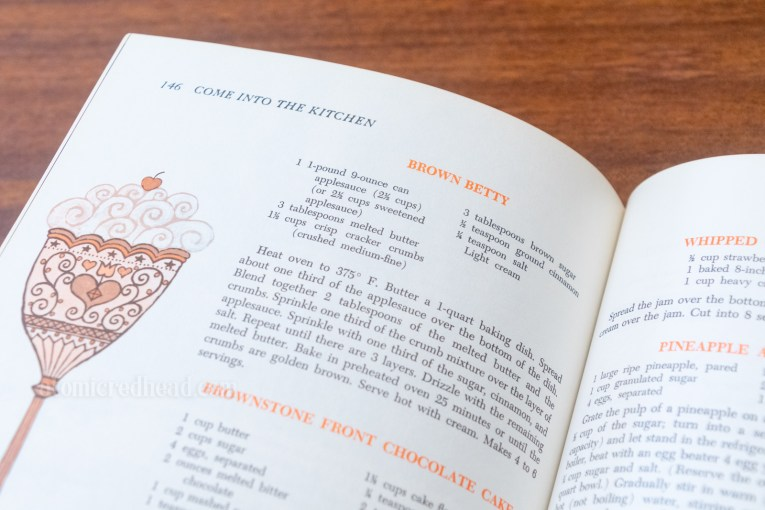 Close-up of the recipe in the book.